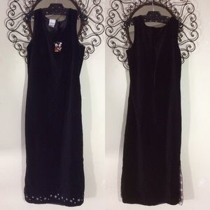 Disney Christmas Dress Black Velvet Maxi Mickey